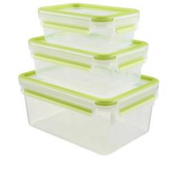 Набор из 3 контейнеров EMSA CLIP&CLOSE, 0,55, 1 и 2,3 л, зелёный Emsa 515585