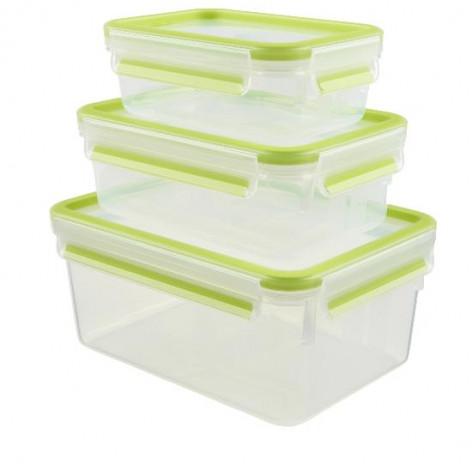 Набор из 3 контейнеров EMSA CLIP&CLOSE, 0,55, 1 и 2,3 л, зелёный Emsa 515585 - emsa – фото 1