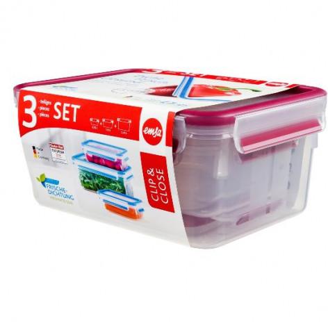 Набор из 3 контейнеров EMSA CLIP&CLOSE, 0,55, 1 и 2,3 л, малинов Emsa 515584 - emsa – фото 3