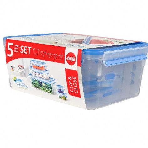 Набор из 5 контейнеров  0,15, 0,25, 0,55, 1 и 3 л Emsa CLIP&CLOSE 508568 - emsa – фото 3