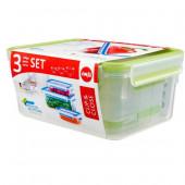 Набор из 3 контейнеров EMSA CLIP&CLOSE, 0,55, 1 и 2,3 л, зелёный Emsa 515585 - emsa – фото 3