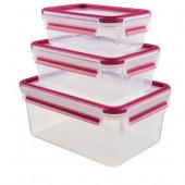 Набор из 3 контейнеров EMSA CLIP&CLOSE, 0,55, 1 и 2,3 л, малинов Emsa 515584 - emsa – фото 1